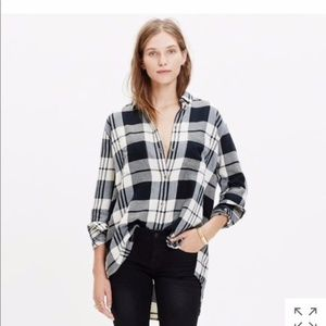 Madewell 'Ex Boyfriend' Plaid Oversize Cotton Top